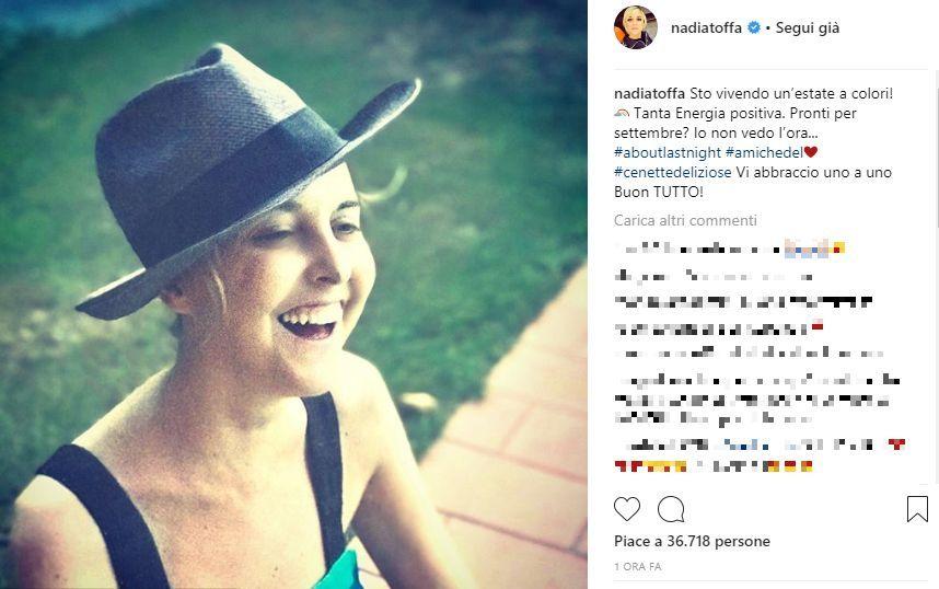 Nadia Toffa torna a sorridere su Instagram e racconta la sua estate