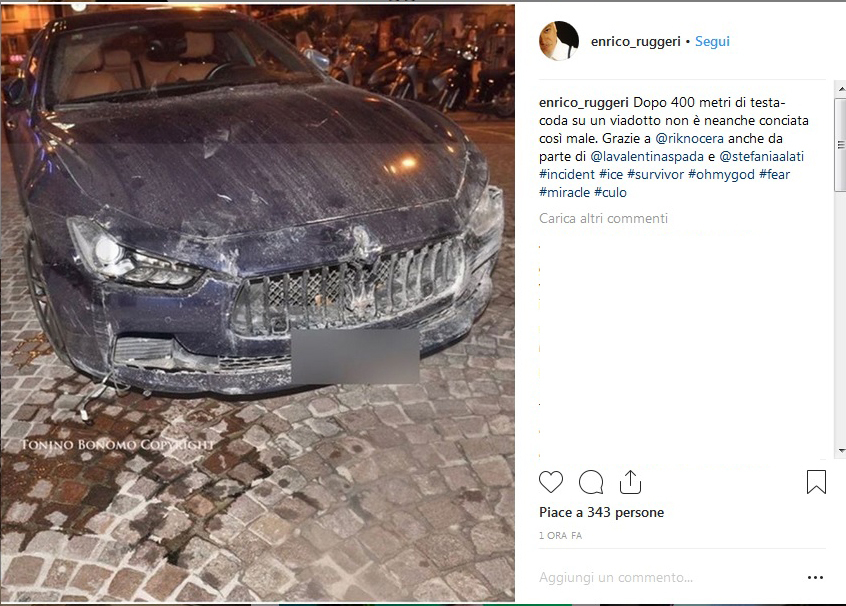 Enrico Ruggeri, incidente stradale da brividi: