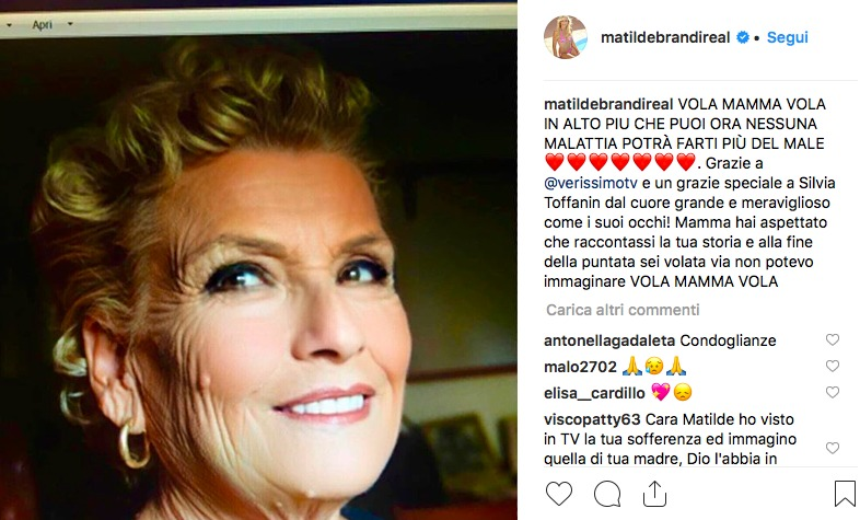 Matilde Brandi: la madre malata è morta dopo l'intervista a Verissimo