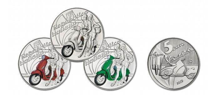 Moneta da 5 euro «dedicata alla Vespa». Emessa da oggi in tre colori
