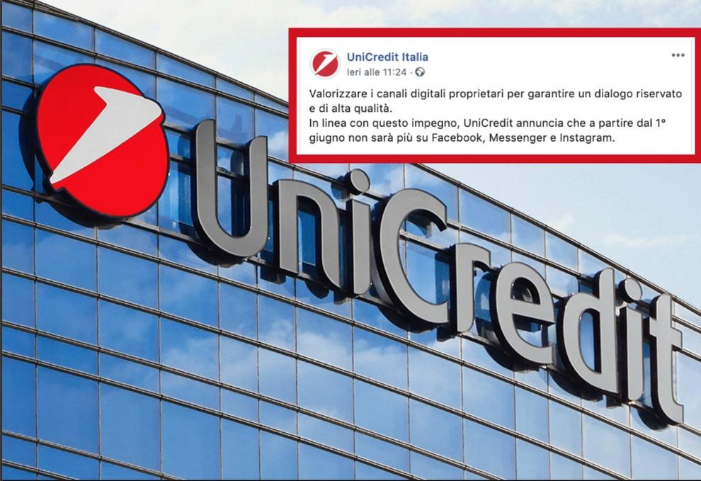 Unicredit lascia Facebook e Instagram: