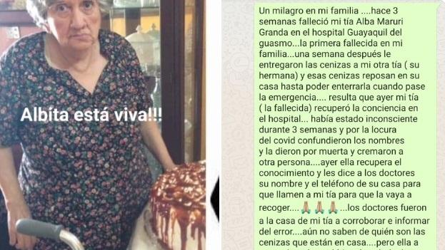 Coronavirus in Ecuador, donna dichiarata morta trovata viva in ospedale dopo un mese. «Abbiamo le ceneri di qualcun altro»
